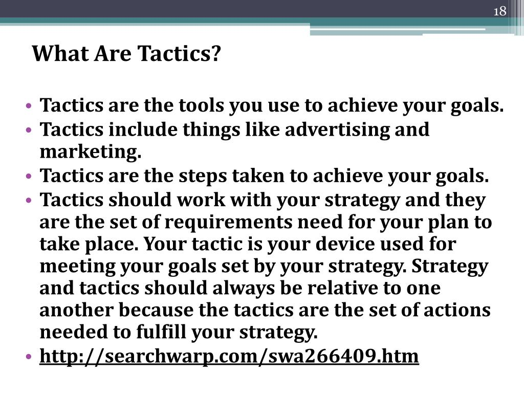 What Are Tactics?
