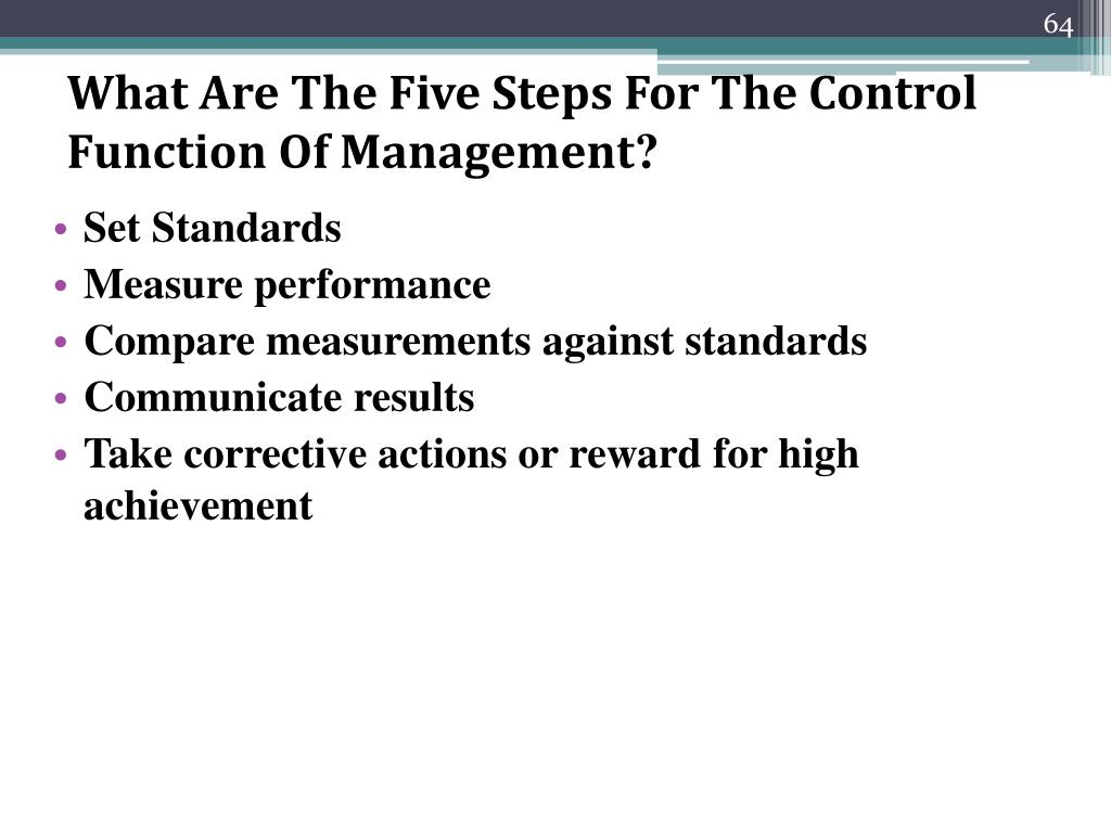 What Are The Five Steps For The Control Function Of Management