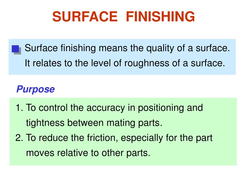 Surface finishing means the quality of a surface. It relates to the level of roughness of a surface.