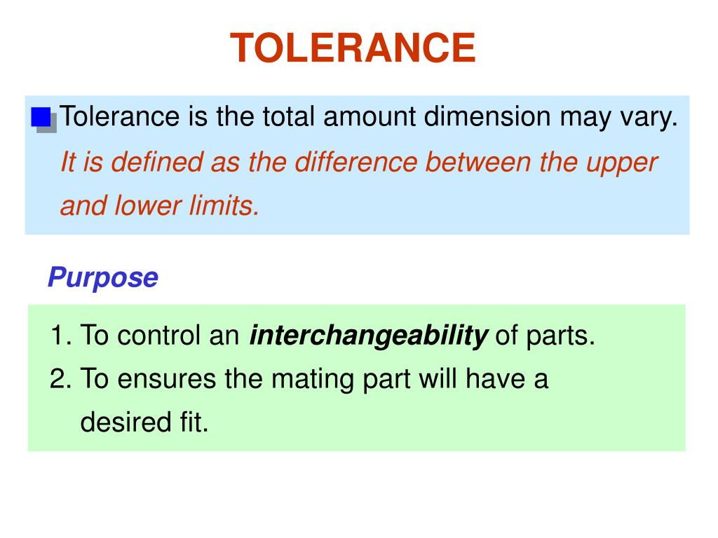 Tolerance is the total amount dimension may vary.