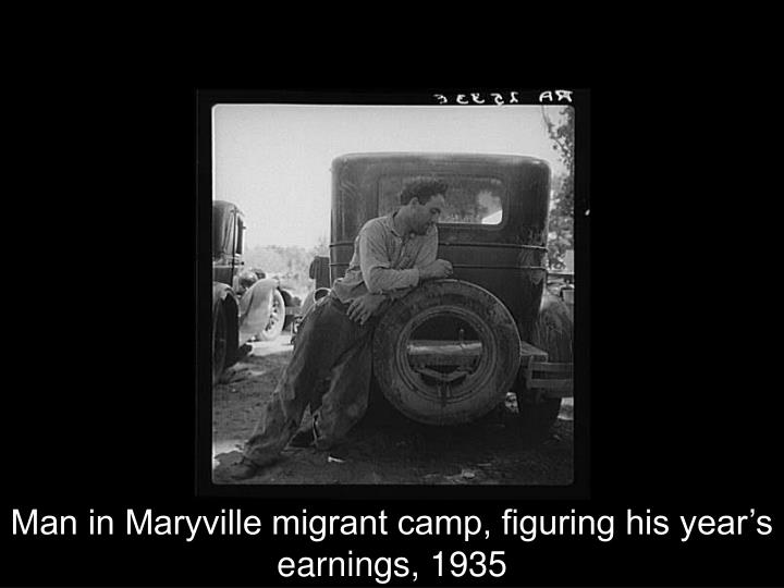 Man in Maryville migrant camp, figuring his year's earnings, 1935