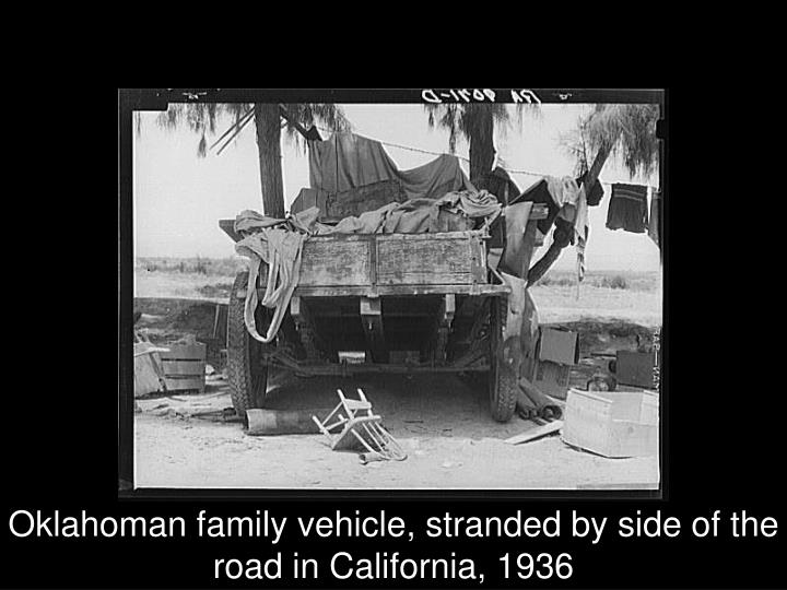 Oklahoman family vehicle, stranded by side of the road in California, 1936