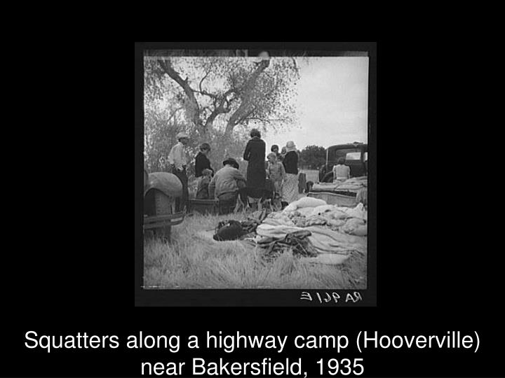 Squatters along a highway camp (Hooverville) near Bakersfield, 1935