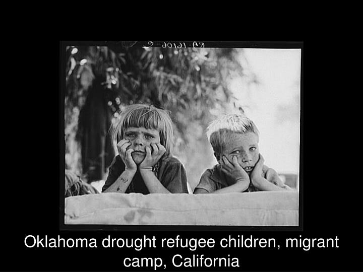 Oklahoma drought refugee children, migrant camp, California