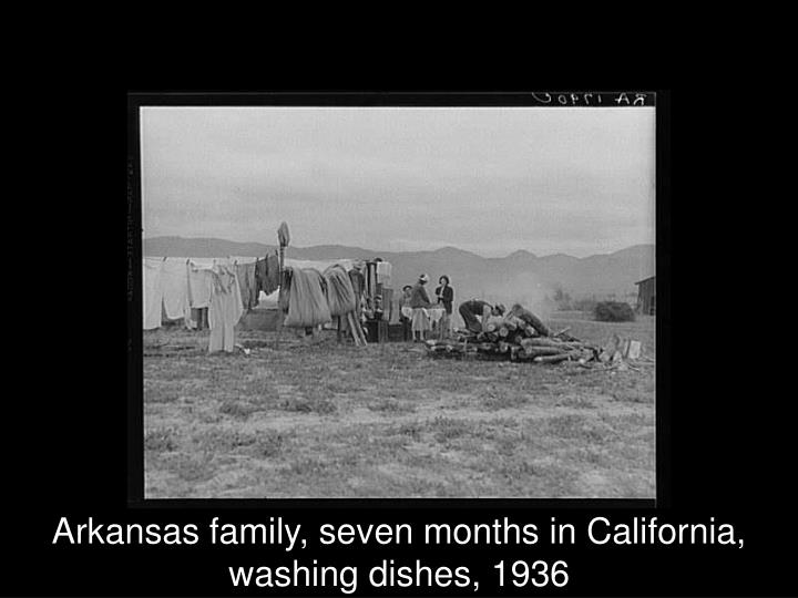 Arkansas family, seven months in California, washing dishes, 1936