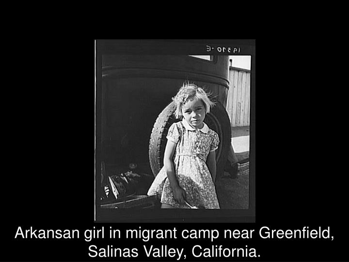 Arkansan girl in migrant camp near Greenfield, Salinas Valley, California.