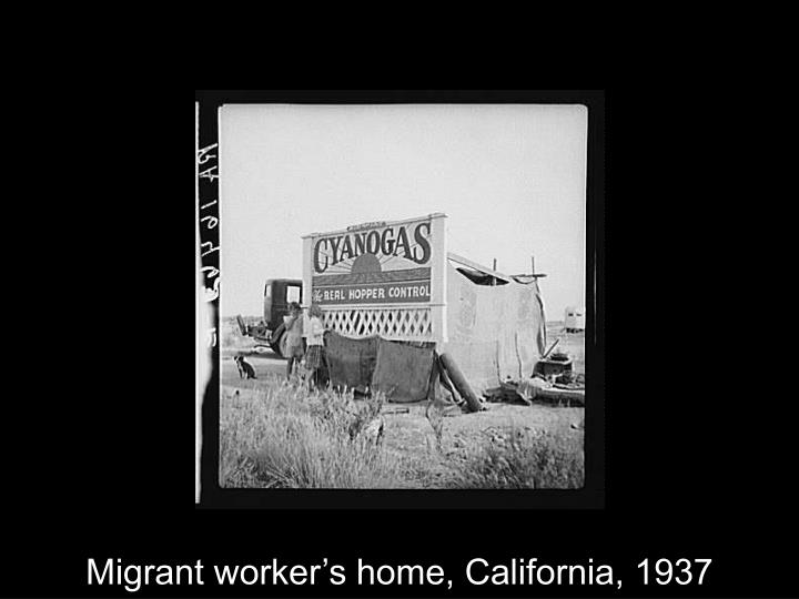 Migrant worker's home, California, 1937