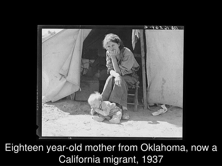 Eighteen year-old mother from Oklahoma, now a California migrant, 1937