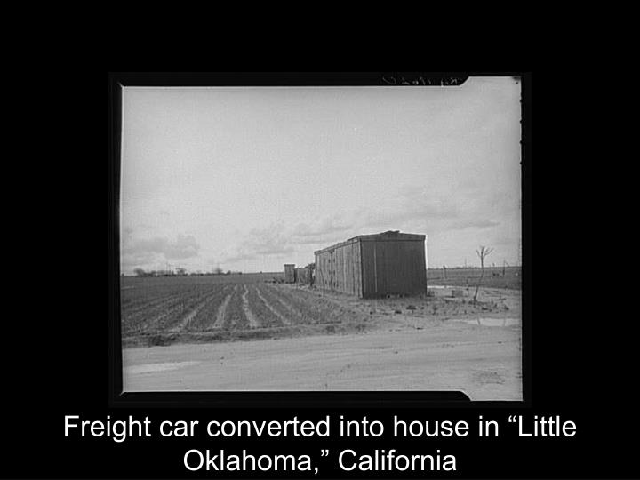 "Freight car converted into house in ""Little Oklahoma,"" California"