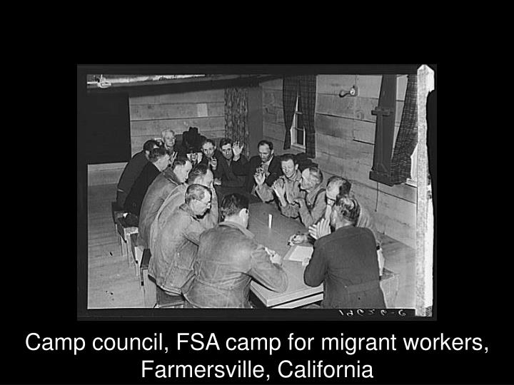 Camp council, FSA camp for migrant workers, Farmersville, California
