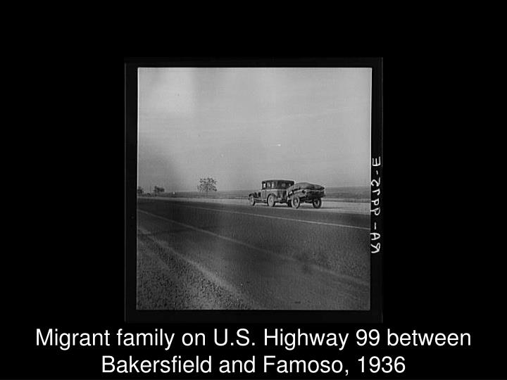 Migrant family on U.S. Highway 99 between Bakersfield and Famoso, 1936