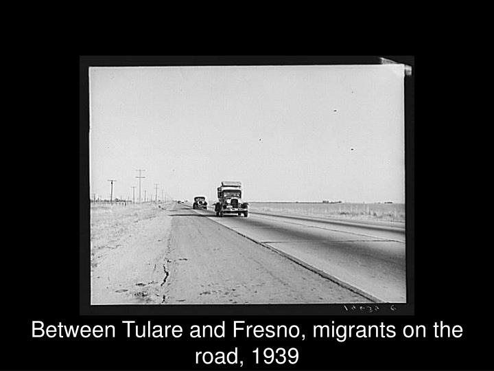 Between Tulare and Fresno, migrants on the road, 1939