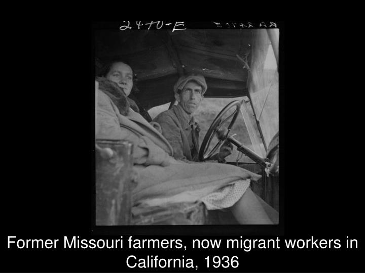 Former Missouri farmers, now migrant workers in California, 1936