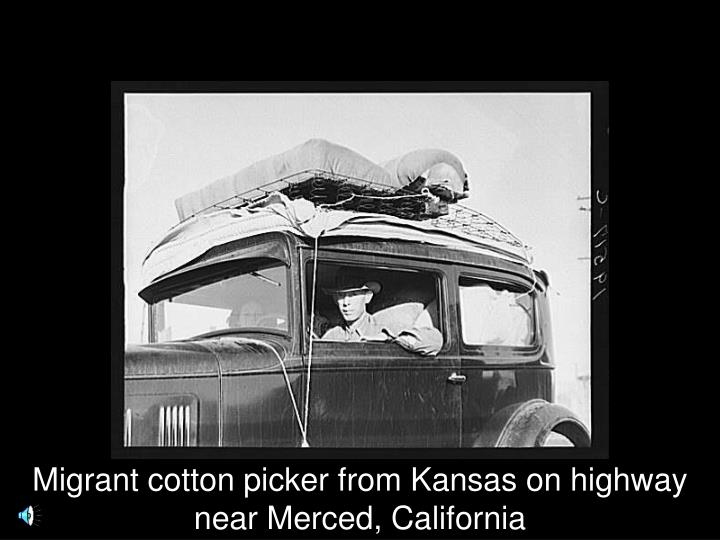Migrant cotton picker from Kansas on highway near Merced, California