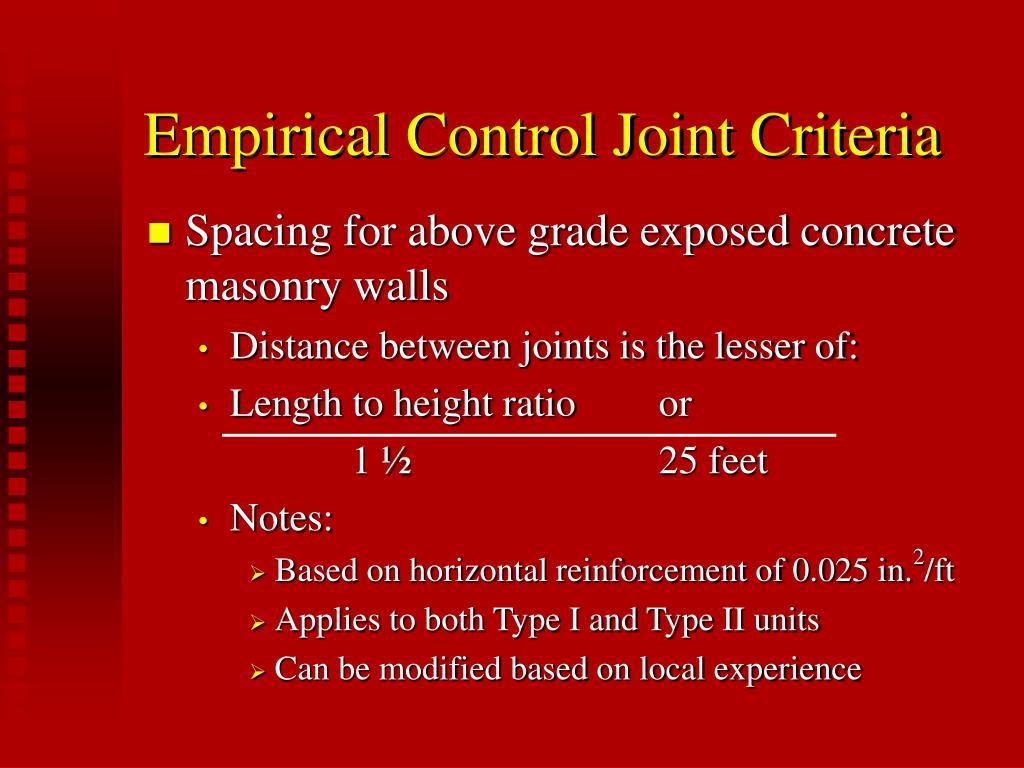 Empirical Control Joint Criteria
