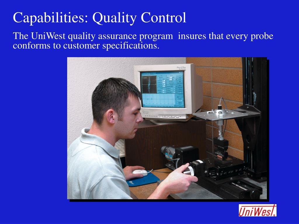 Capabilities: Quality Control