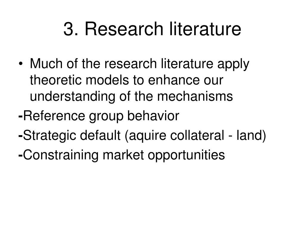 3. Research literature
