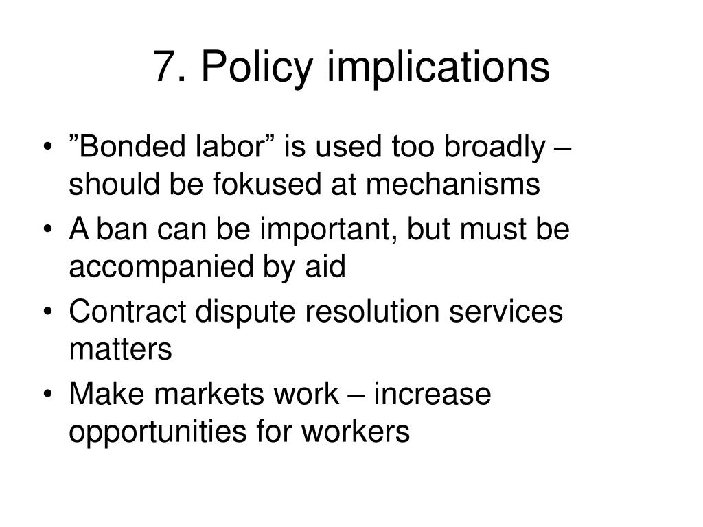 7. Policy implications