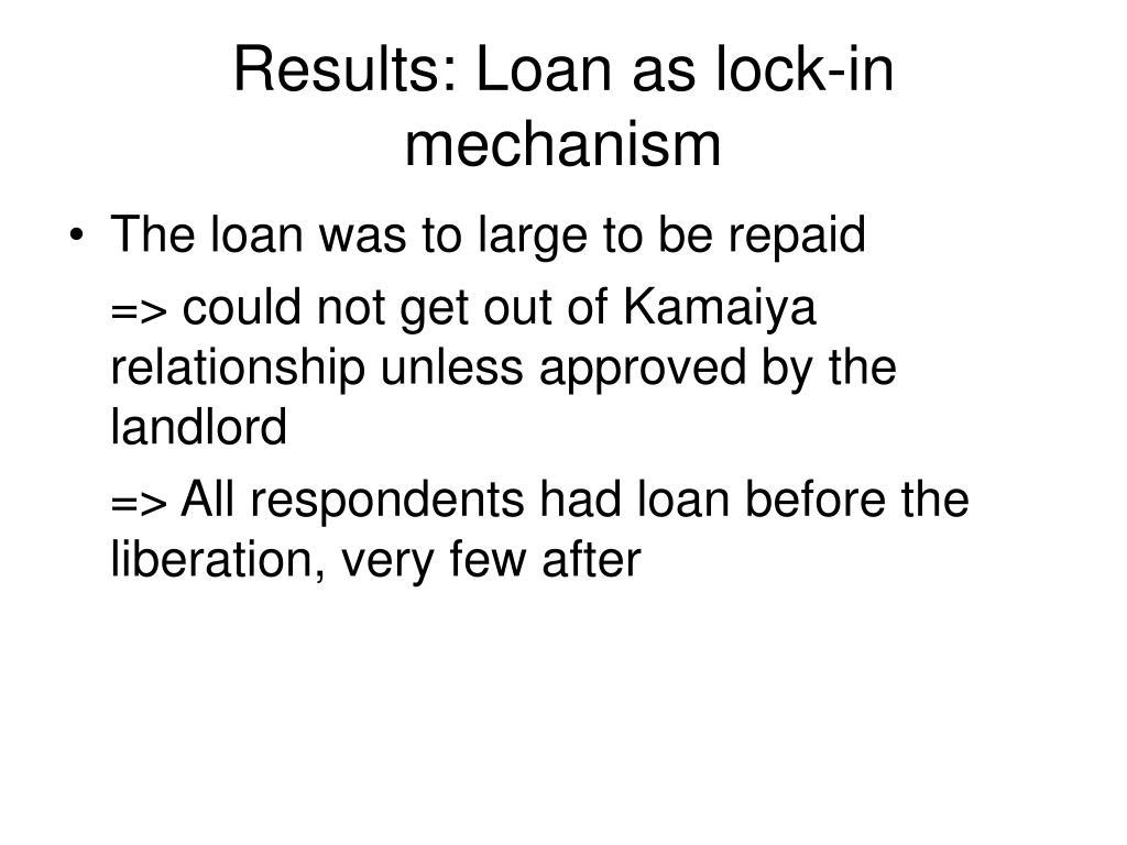 Results: Loan as lock-in mechanism