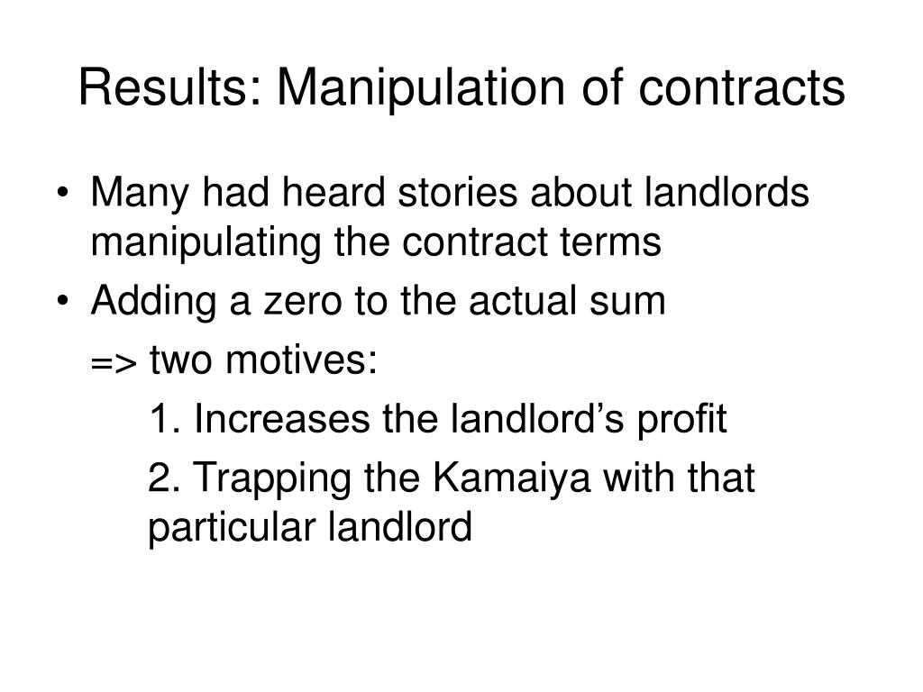 Results: Manipulation of contracts