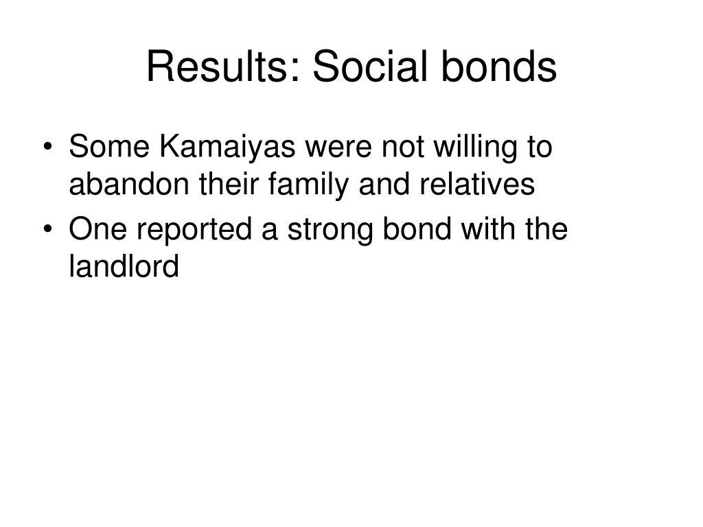 Results: Social bonds
