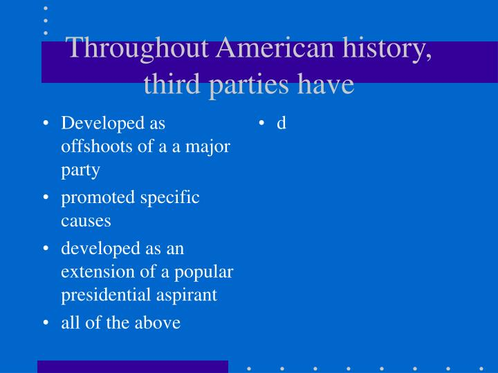Developed as offshoots of a a major party