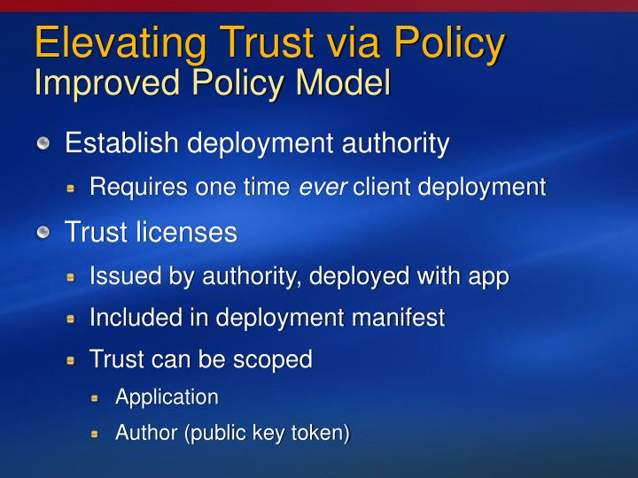 Elevating Trust via Policy