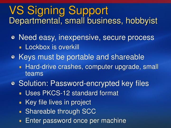 VS Signing Support
