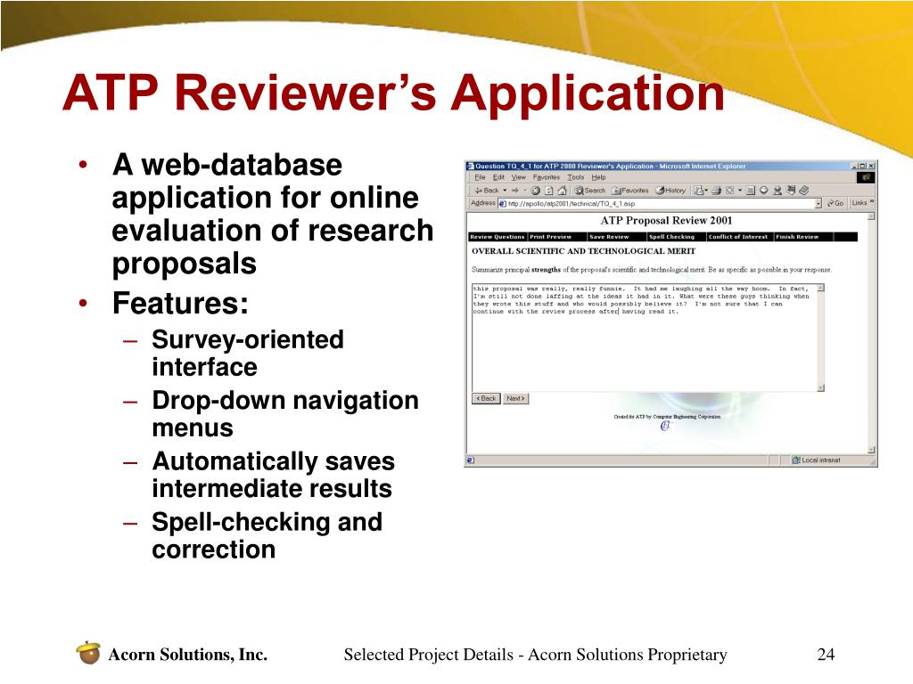 ATP Reviewer's Application