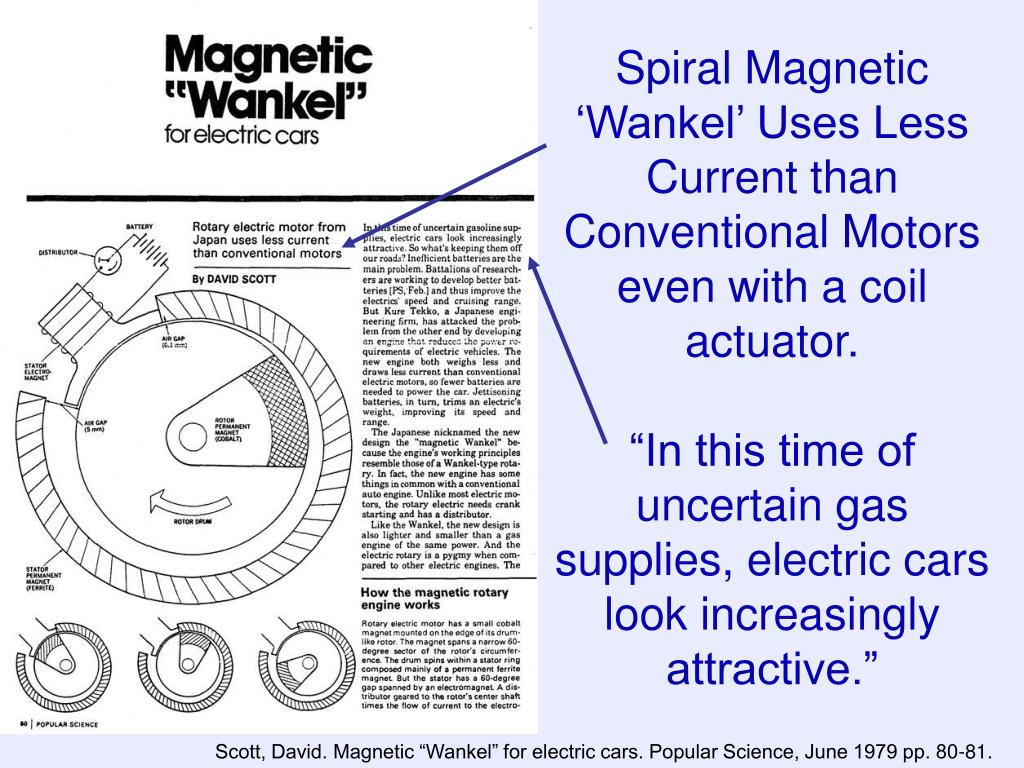 Spiral Magnetic 'Wankel' Uses Less Current than Conventional Motors even with a coil actuator.