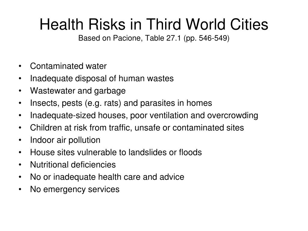 Health Risks in Third World Cities
