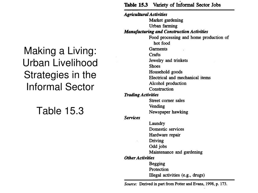 Making a Living: Urban Livelihood Strategies in the Informal Sector