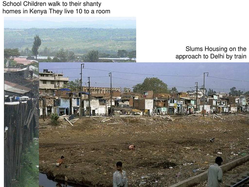 School Children walk to their shanty homes in Kenya They live 10 to a room