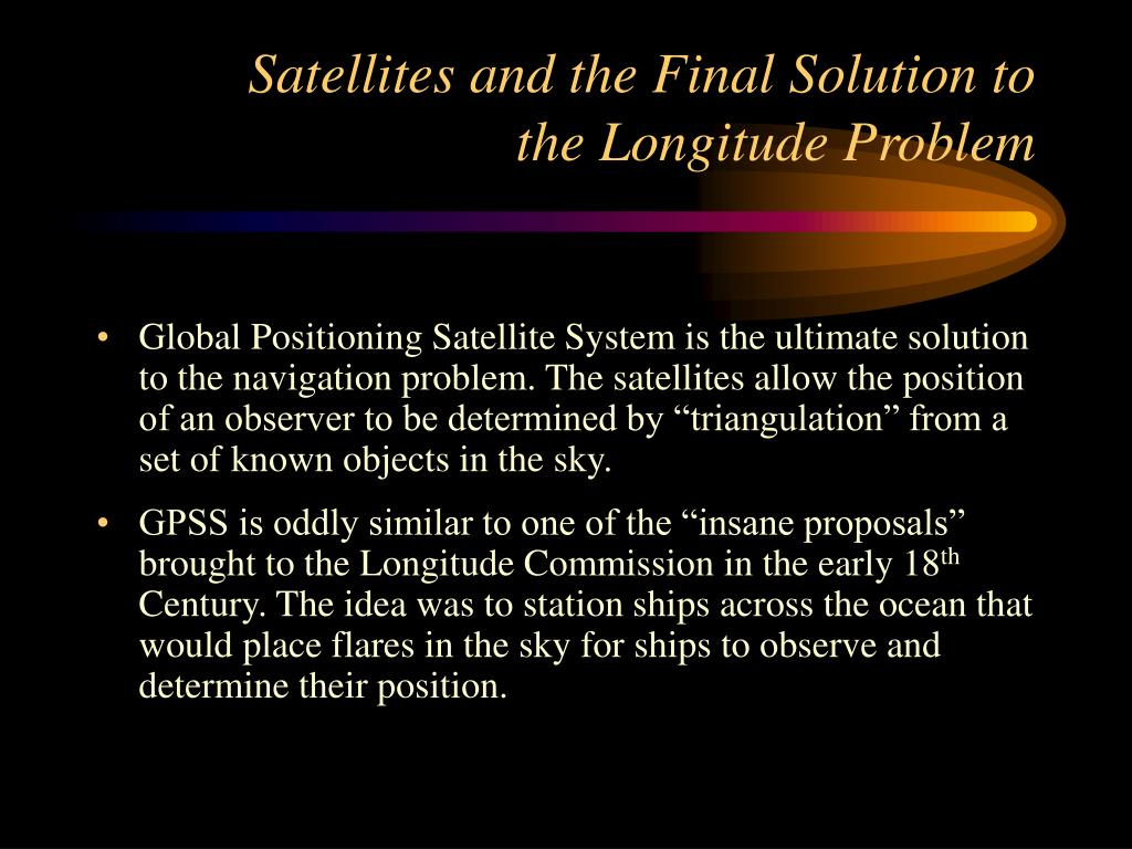 Satellites and the Final Solution to the Longitude Problem
