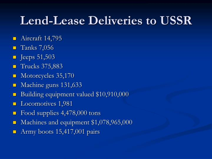 Lend-Lease Deliveries to USSR