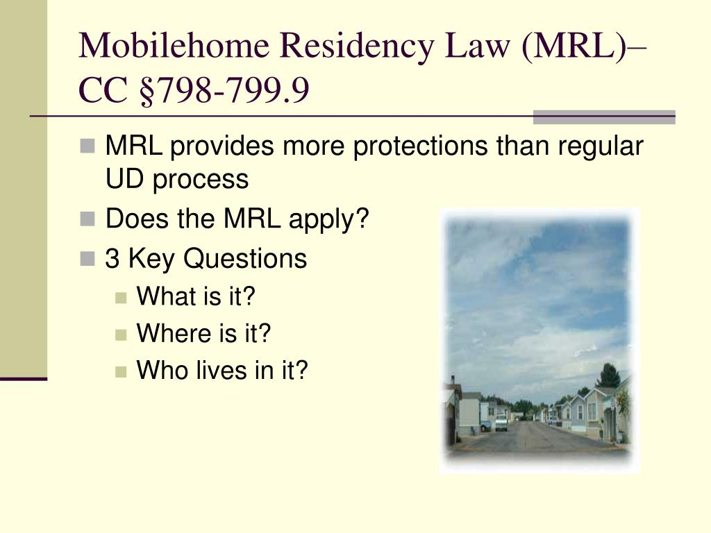 Mobilehome Residency Law MRL