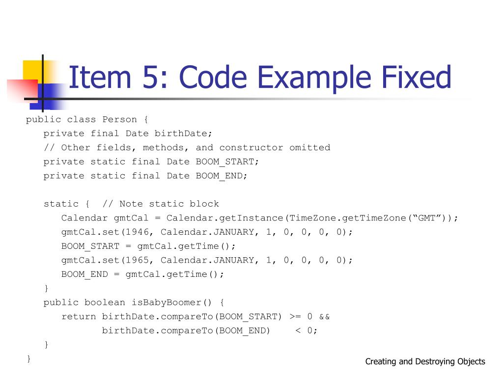 Item 5: Code Example Fixed