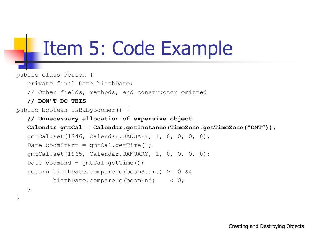 Item 5: Code Example