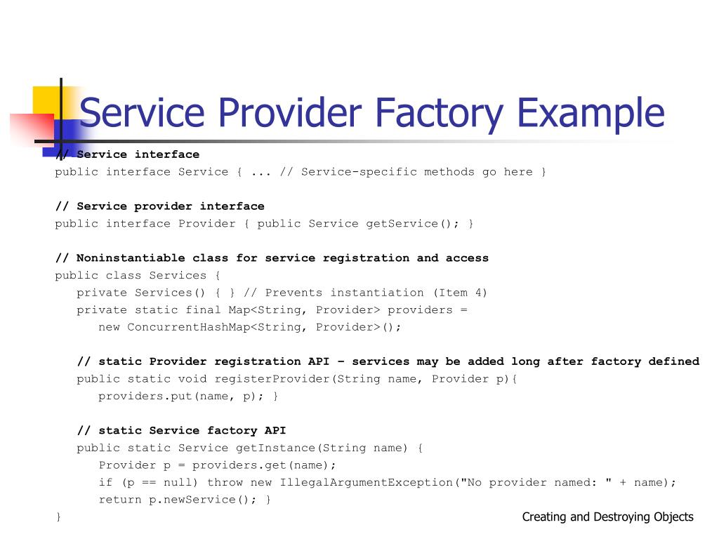 Service Provider Factory Example