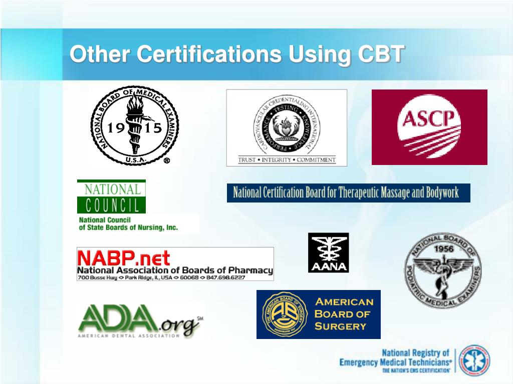 Other Certifications Using CBT