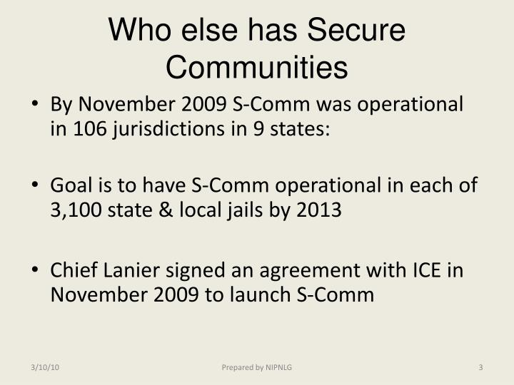 Who else has secure communities