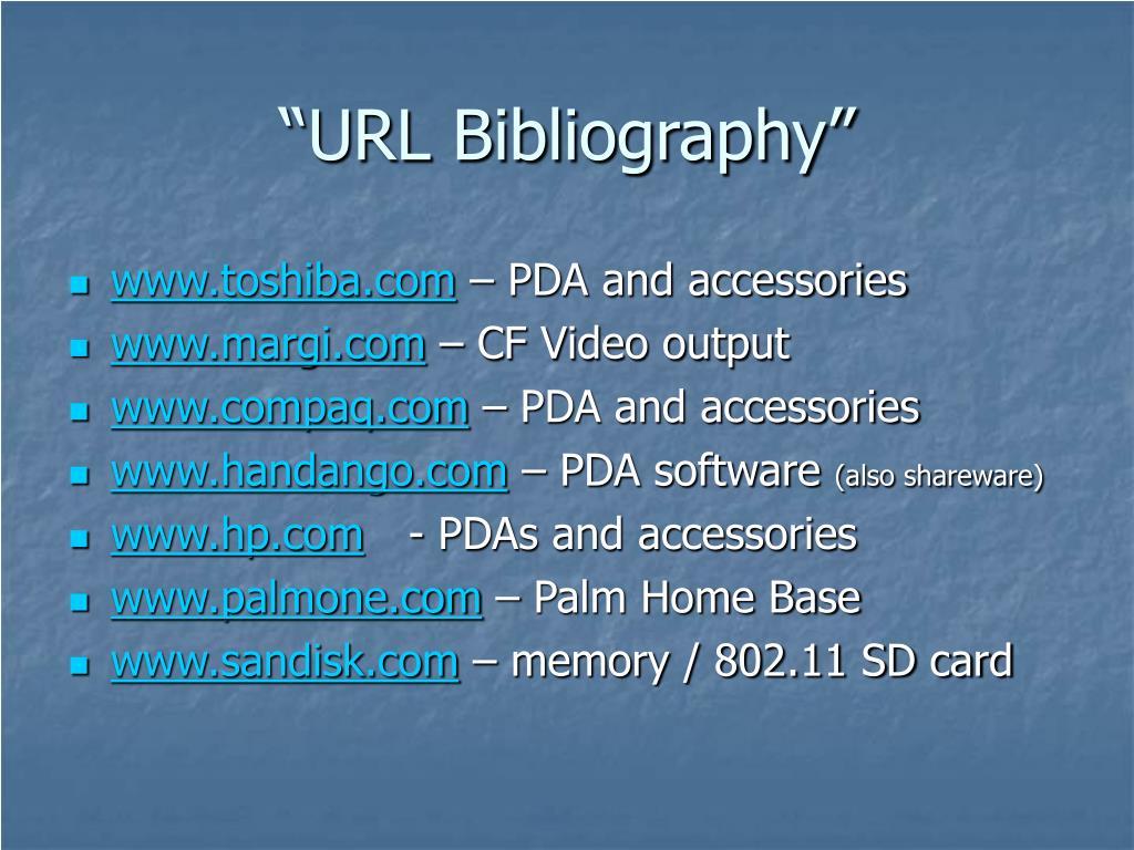 """URL Bibliography"""