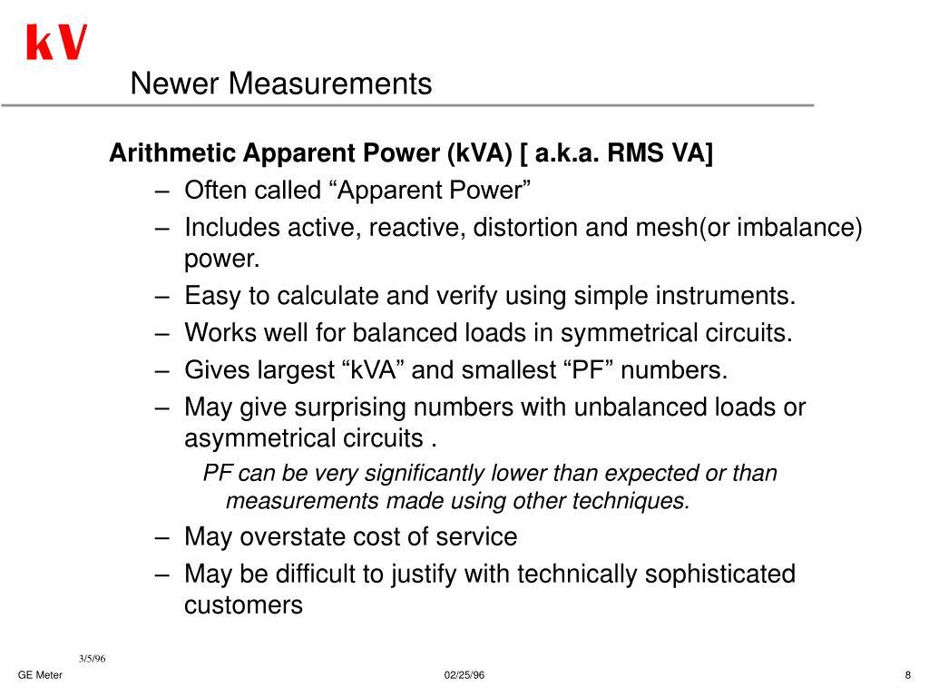 Newer Measurements