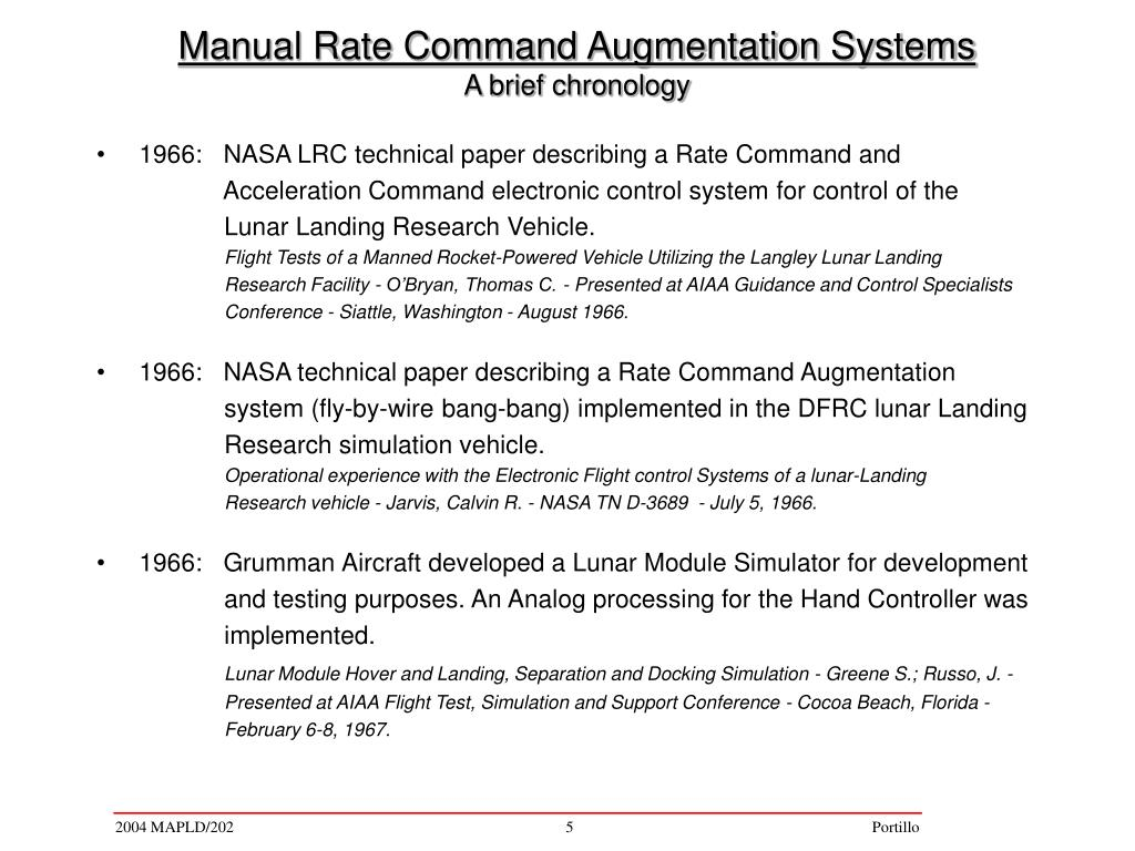 1966:   NASA LRC technical paper describing a Rate Command and