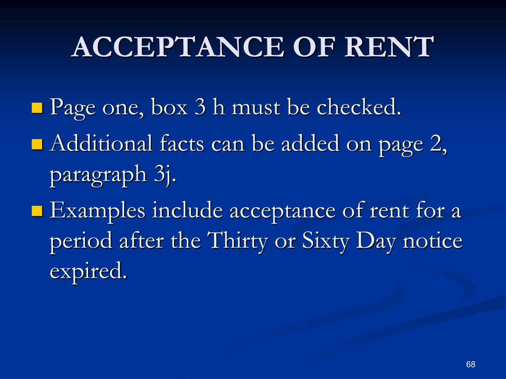 ACCEPTANCE OF RENT