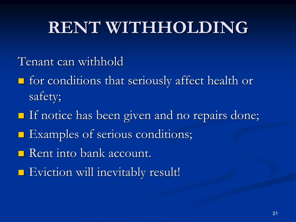 RENT WITHHOLDING