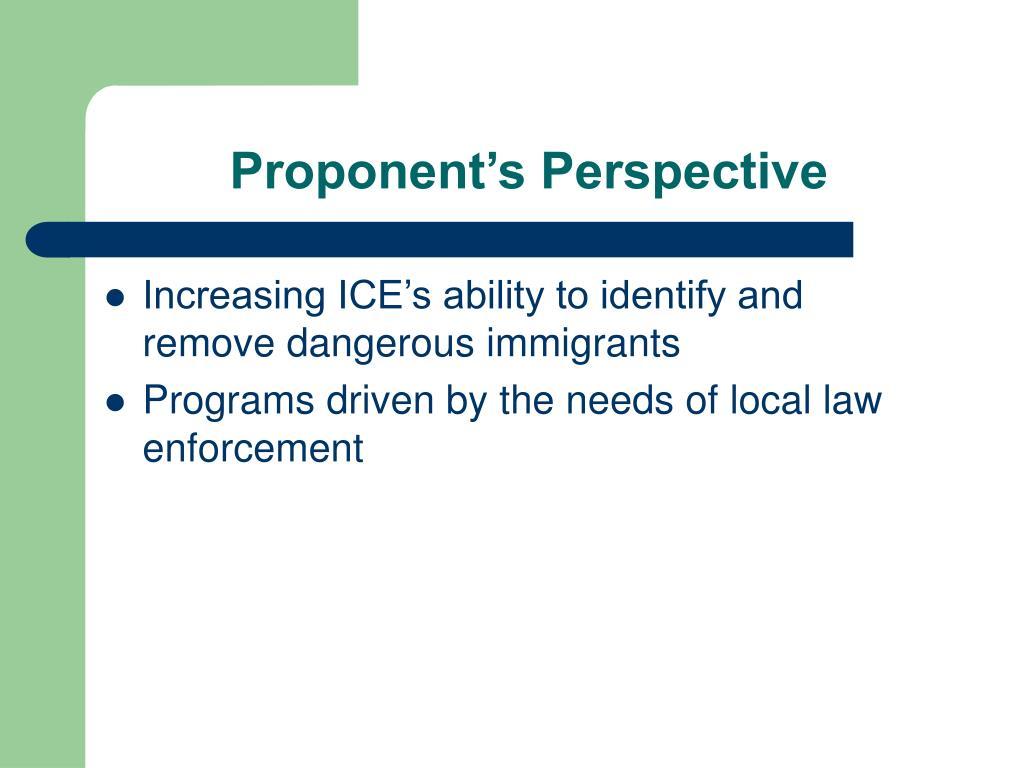 Proponent's Perspective