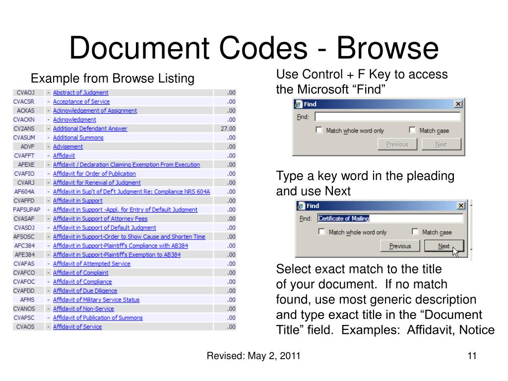 Document Codes - Browse
