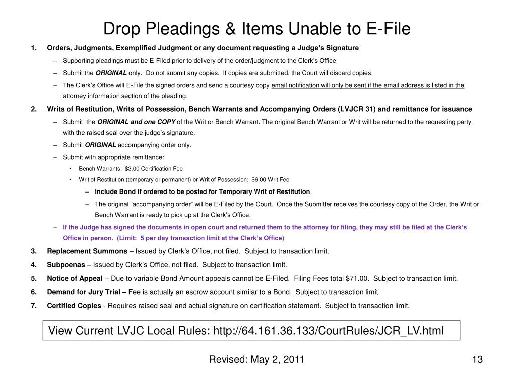 Drop Pleadings & Items Unable to E-File