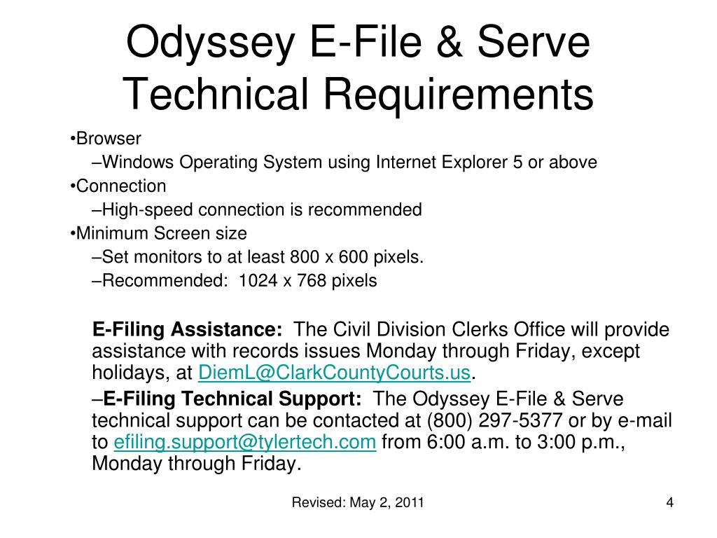 Odyssey E-File & Serve  Technical Requirements